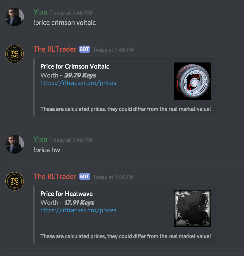 Price and statistics Discord Bot | RLTracker.pro